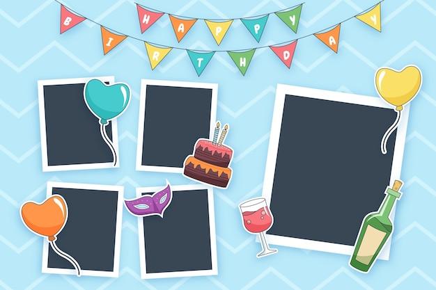 Набор плоских коллажей на день рождения