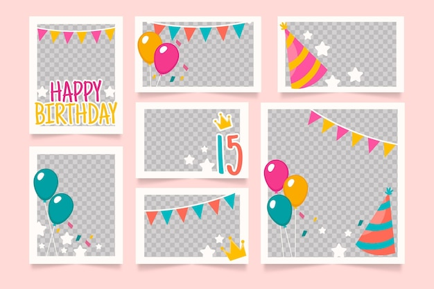 Набор плоских рамок для коллажей на день рождения