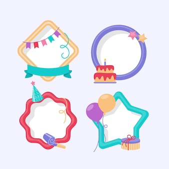 Flat birthday collage frames pack