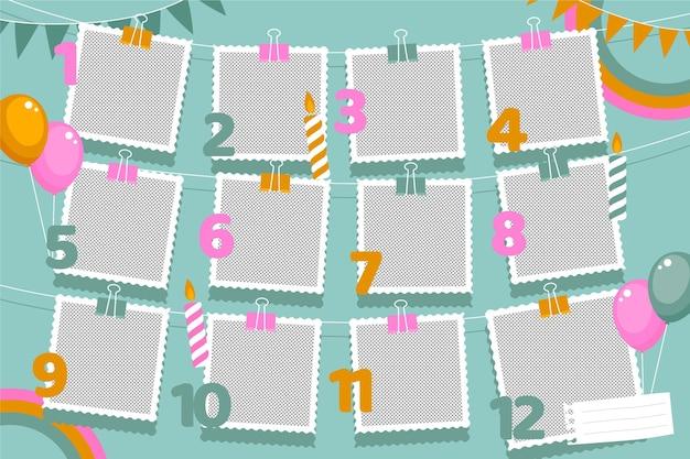 Плоские рамки для коллажей на день рождения