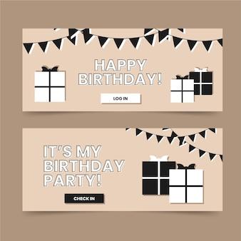 Flat birthday design banner