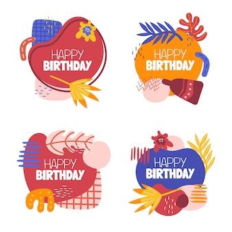Flat birthday design of stickers set