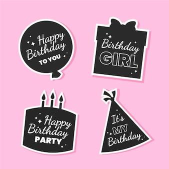 Flat birthday design of stickers