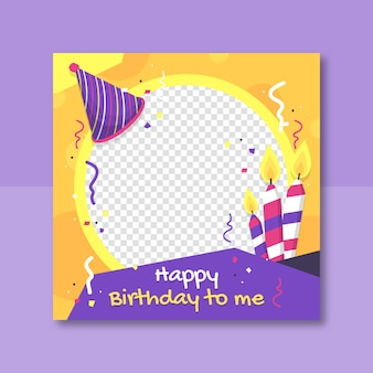 Flat birthday facebook frame for profile pic
