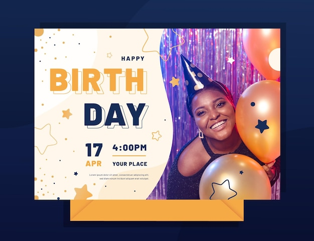 Flat birthday invitation template with photo