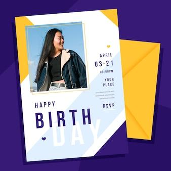 Flat birthday invitation template