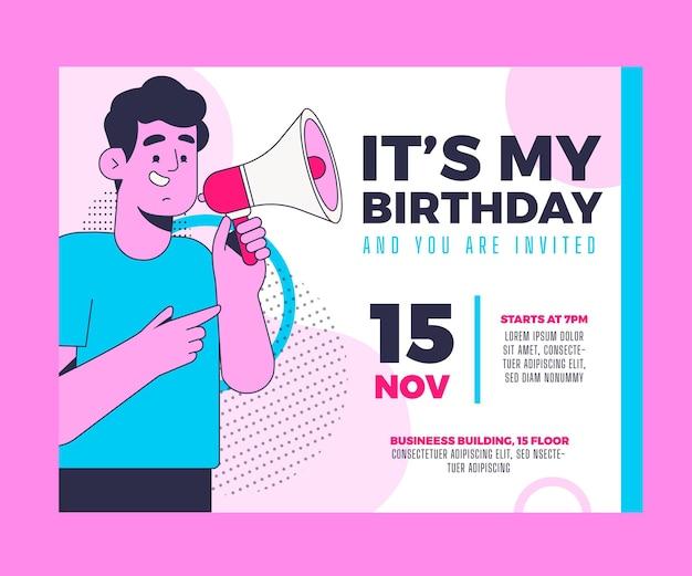 Плоский шаблон приглашения на день рождения