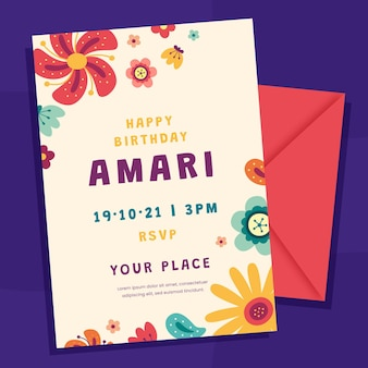 Flat birthday invitation template