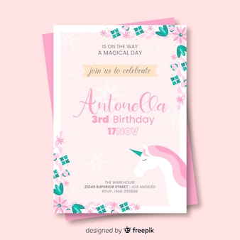 Flat birthday invitation with unicorn