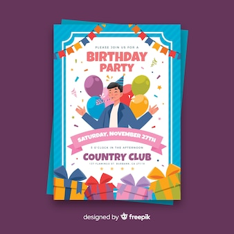 Flat birthday party card template