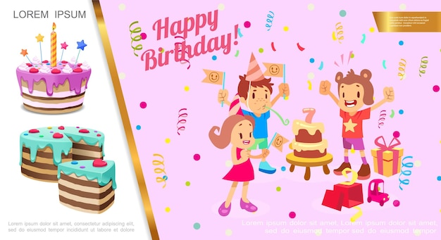 Flat birthday party concept with kids celebrating birthday confetti gift boxes cakes   illustration