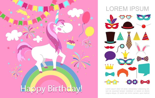 Flat birthday party concept with unicorn on rainbow garland balloons fireworks masquerade masks hats ties speech bubbles   illustration
