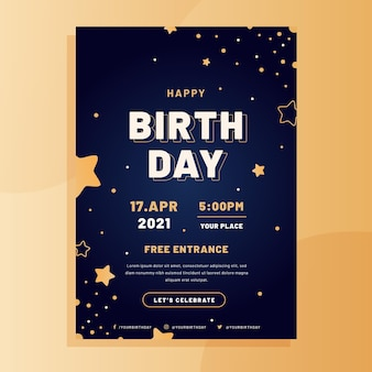 Flat birthday poster template