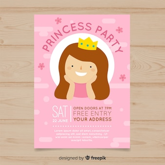Flat birthday princess invitation