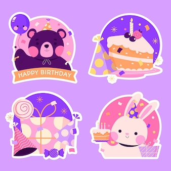 Flat birthday stickers collection