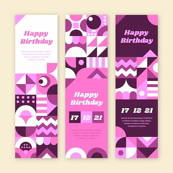 Flat birthday vertical banners