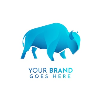 Плоский шаблон логотипа бизона