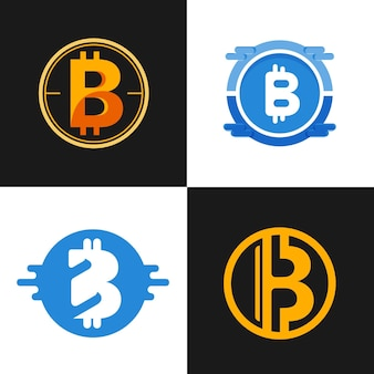 Flat bitcoin logo collection