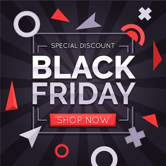 Flat black friday background with different shapes