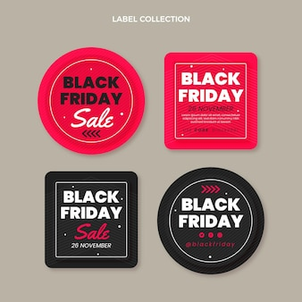 Flat black friday badges collection