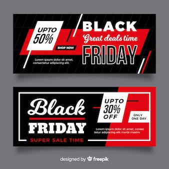 Flat black friday banners and deals