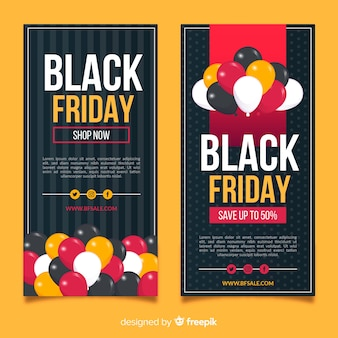 Flat black friday banners with balloons