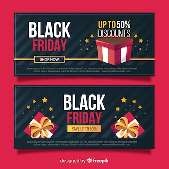 Flat black friday banners with gift boxes
