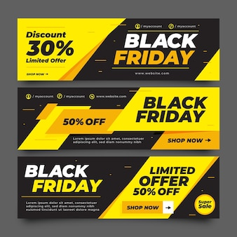 Flat black friday banners