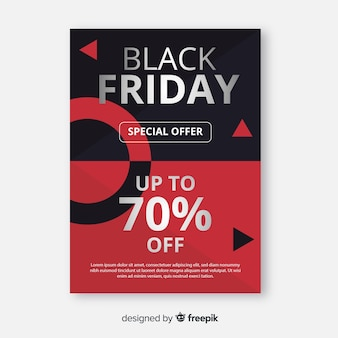 Flat black friday flyer template