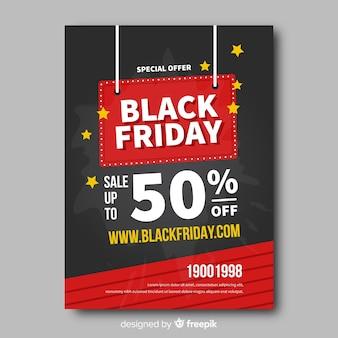 Flat black friday flyer template