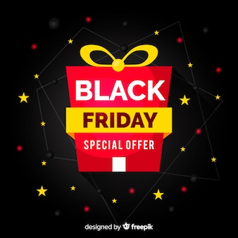 Flat black friday gift background