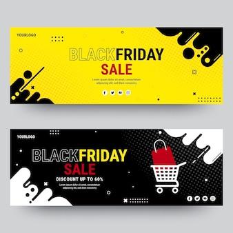 Flat black friday horizontal banners set