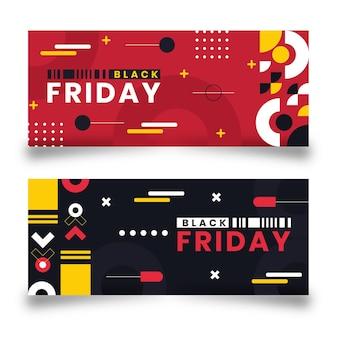 Set di banner orizzontali piatti venerdì nero