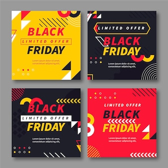 Flat black friday instagram posts collection