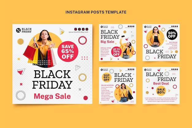 Плоская черная пятница коллекция сообщений instagram