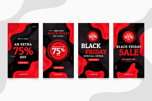 Flat black friday instagram stories collection