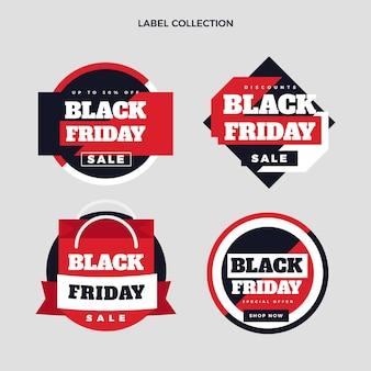 Плоская коллекция этикеток черной пятницы