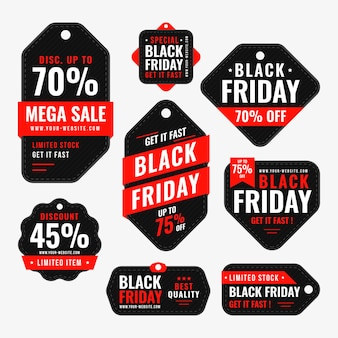 Flat black friday labels collection