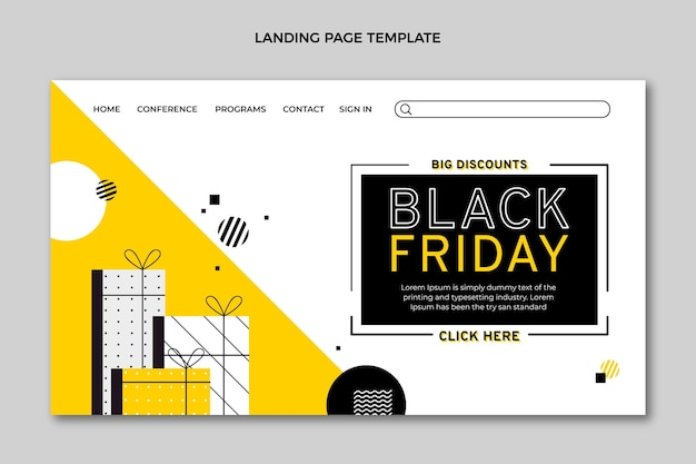 Flat black friday landing page template