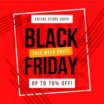 Flat black friday on red background