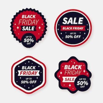Flat black friday sale badges collection