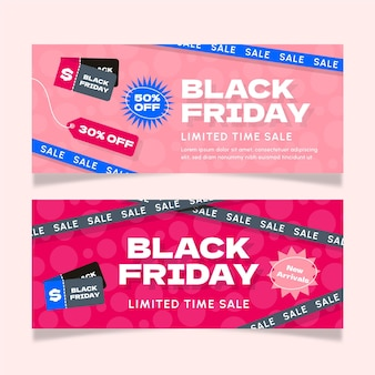 Set di banner di vendita flat black friday