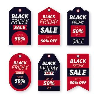Плоская коллекция этикеток черная пятница