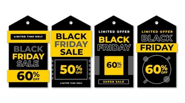 Collezione di etichette per la vendita del venerdì nero piatto