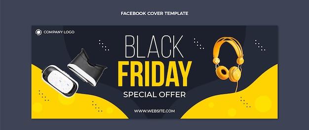 Плоский шаблон обложки для социальных сетей черная пятница