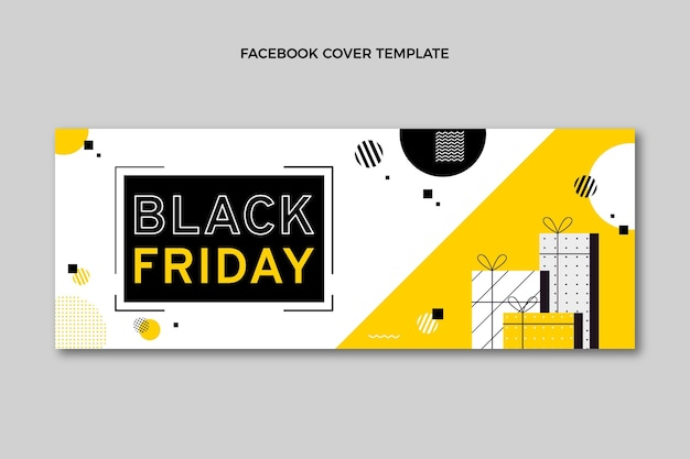 Flat black friday social media cover template