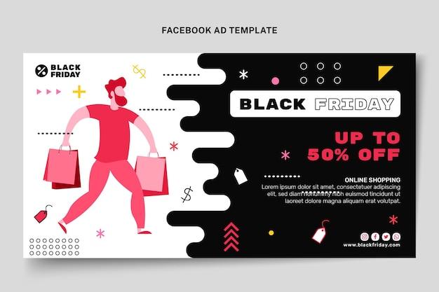 Flat black friday social media promo template