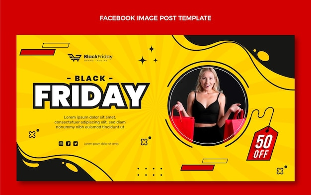 Плоский рекламный шаблон черной пятницы в социальных сетях