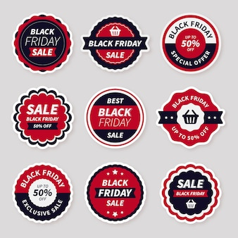 Flat black friday stickers collection