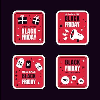 Плоская коллекция наклеек черная пятница